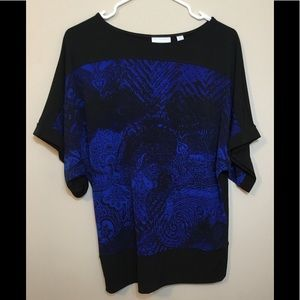 NYC Women's Blouse Sz Small Blue/Black